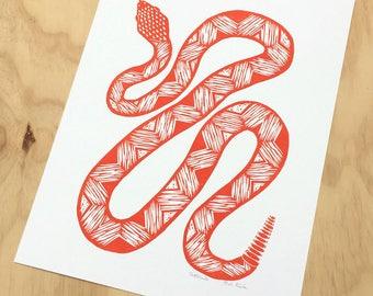 Snake Art, Linocut Print, Snake Print, Lino Print, Southwest Decor, Snake Poster, Rattlesnake, Reptile