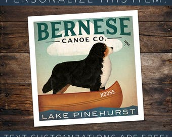 CUSTOM BERNESE Mountain Dog Berner Canoe Company Graphic Art Giclee Print Signed FREE Personalization Ryan Fowler