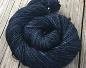 Sparkle Sock Yarn Davy Jones Locker midnight blue black Hand Dyed Hand Painted 438 yards superwash merino nylon stellina fingering swm toes