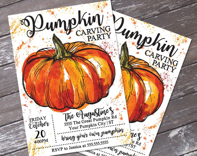 Pumpkin Carving Party Invitation - Pumpkin Party, Halloween Party, Autumn Party | DIY INSTANT Download PDF Printable