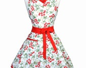 PLUS SIZE Sweetheart Retro Apron - Womens Red Cherries Cute 50s Vintage Pinup Kitchen Apron with Personalized Monogram Option (DP)