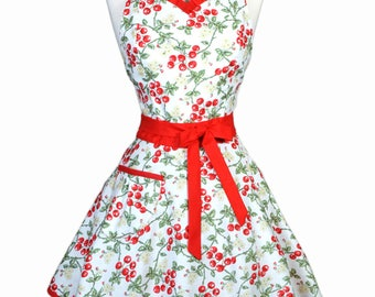 Sweetheart 50s Womens Apron - Red and White Cherries Jubilee Retro Cute Vintage Style Pin Up Kitchen Apron with Fitted Bodice (DP)