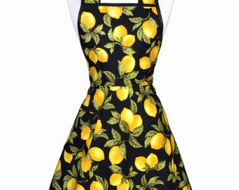 Womens Vintage Apron - Juicy Yellow Lemons on Black Cute 50s Style Retro Kitchen Apron with Pockets (DP)
