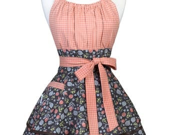 Flirty Chic Retro Apron - Womens Thanksgiving Salmon and Brown Fall Floral Pinup Kitchen Apron with Pocket - Monogram Option (DP)
