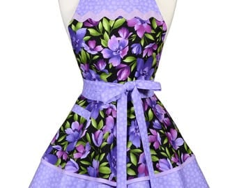 Womens Ruffled Retro Apron in Purple Lavender Floral Kitchen Gift for Her to Personalize or Monogram (DP)