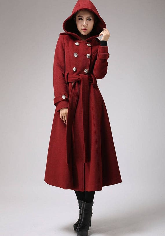 Winter coat trench coat red coat military coat long coat