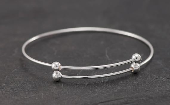 Sterling Silver Bangle Bracelet- Adjustable Bangle with Balls- Silver Bracelet