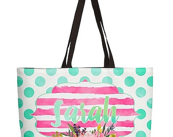 Bridesmaid Bags, Matching Weekender Bag, Personalized Totebags, Bridal party gift monogrammed beach bag, bride tribe bags, watercolor floral