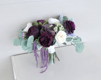 Eucalyptus Bouquet | Deep Wine, Eggplant, Lavender and Ivory | Preserved Eucalyptus and Silk Flower Wedding Bouquet | SG-1052