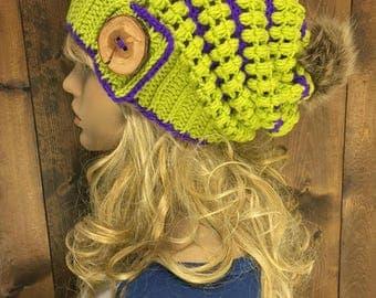 Crochet Slouchy Hat Faux Fur Pom Pom / MERAKI / Featured in the colour Lemon Haze