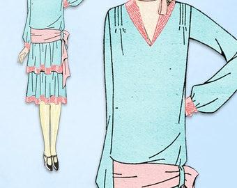 1920s VTG Ladies Home Journal Sewing Pattern 5455 Uncut Flapper Party Dress 34 B