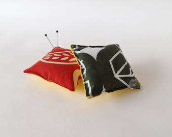 Recycled Fabric Swatch, Scrap and Offcut Pin Cushion with Eco Friendly Wadding, Sustainable Haberdashery Supplies, Red or Green Print.