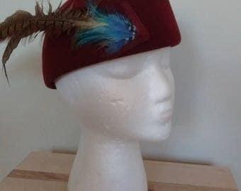 Burgundy Feathered Felt Cap