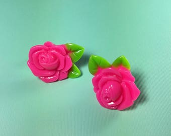 Bright & Bold Super Cute Rose Flower Babe Hot Pink Clip On Earrings