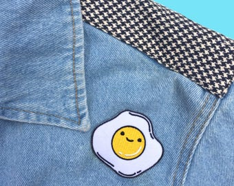 Kawaii Eggi Patch, Iron On patch, Embroidered Patches, Customise Denim
