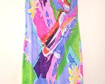 jams world 80s pastel modern art dyed sleeveless maxi surf sun dress