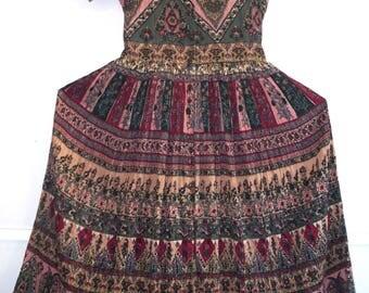 80s/90s indian print cotton gauze button front peasant dress