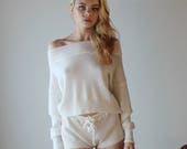 Merino Wool lingerie shorts in sweater knit with drawstring waist - made to order