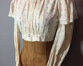Vintage Antique Late 1800s Victorian Ruffled Blouse Crochet Collar Cropped Fit XS