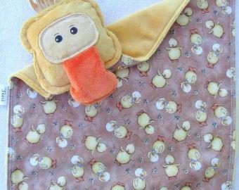Duckling Duck Lovey Lovie Blanket - Golden Yellow Orange - Smooth Minky - Gentle Rattle Sound - Comfort Blanket Stuffed Duckling