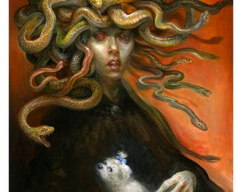 Medusa with Muffins (print) - monster, pet dog, funny, beauty and the beast, gorgon, snakes, portrait