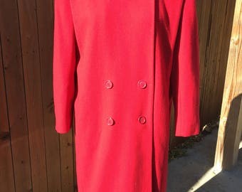 Vintage 1980s Signature Coats by Miss Harwood. 100% wool. Winter RED! Union made -USA. Holiday, cold weather gear. Fully lined fashion coat.