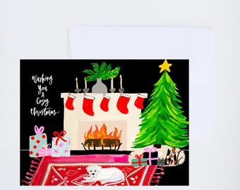 Holiday Greeting Cards - Wishing You A Cozy Christmas - Fireplace Animal Scene - Single A-2 Card