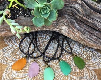 Sea Glass Choker, Beachy Cord Choker Necklace, Vegan Cotton Cord, Hippie, Boho, Spiritual, Charm Necklace, Adjustable, Bohemian, Boho Style