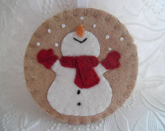 Primitive Snowman Ornament Felt Red Scarf Mittens Penny Rug Christmas Tree Decoration