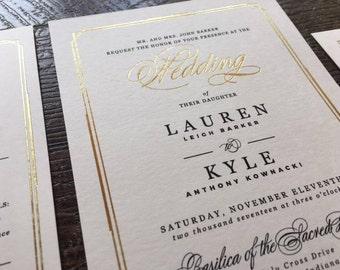 Budget Friendly Foil Printed wedding invitations