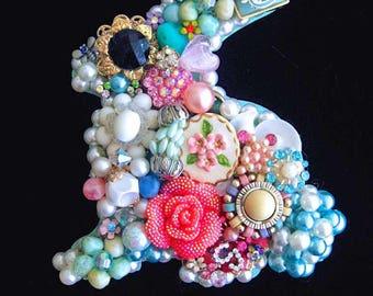 Baby Bunny - Vintage Jewelry Bunny - Jewel Bunny - Vintage Jewelry Art - Bunny Wall Hanging - Baby Room Decor - Marshmallow