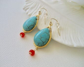 Turquoise Earrings, Dangle Earrings, Turquoise Hoop Earrings, Gold and Turquoise Earrings, Turquoise and Orange Jewelry Gift For Her