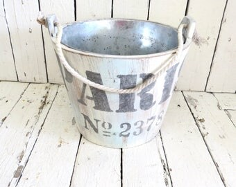 Paris Decor, Vintage Bucket, Garden Planter, Rustic Planter, Cottage Farmhouse, Plant Holder, Old Bucket, Kitchen Bath Decor, Organization
