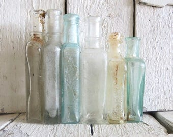 Apothecary Bottles, Old Bottles, Small Glass Bottles, Rustic Bottles, Shabby and Chic, Bath Decor, Glass Vase, Antique Bottle Collection