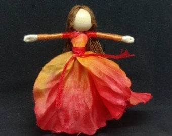 Waldorf Flower Fairy Doll - Orange Poppy - Art Doll, Worry Doll, Faery, elemental