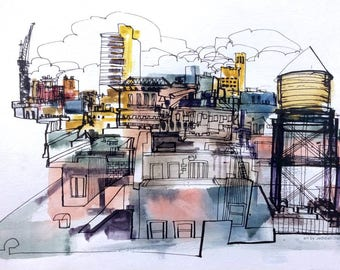 Manhattan Reportage drawing by Jedidiah Dore