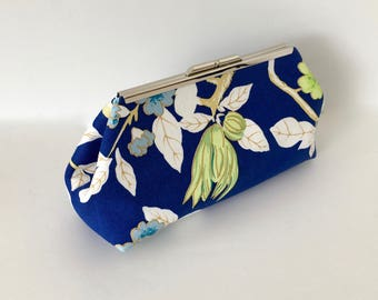 Blue clutch, floral clutch, chinoiserie clutch, asian inspired clutch, royal blue clutch, in blue Happy Garden by Quadrille China Seas