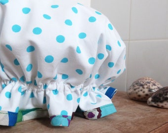 dotty and flo frilly fabric shower cap bath bonnet handmade - ready to ship