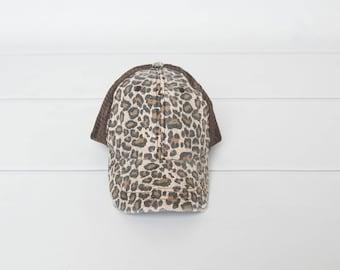 Brown trucker Hat, womens hat, leopard hat, distressed hat, printed hat brown hat, trucker hat for women, baseball cap, womens trucker hat
