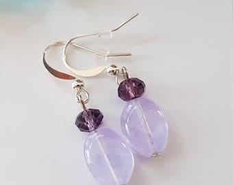 Light Purple Beaded Dangle Earrings