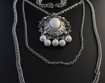 Celebrity Necklace, Renaissance Revival Necklace, Statement Necklace, Long Necklace, White Necklace, Silver Necklace, Convertible Necklace