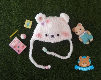White bear hat kawaii style for Irrealdoll Lati Yellow Mui Chan