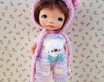 Bear set hat and romper for Irrealdoll, Pukifee, Mui Chan, Lati Yellow and other tiny BJD sizes