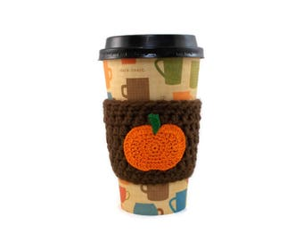 Pumpkin Cup Cozy, Fall Coffee Cup Cozies, Cup Sleeve, Crochet Cup Cozy, Coffee Holder, Crochet Coffee Sleeve, Coffee Lovers Gifts Under 10
