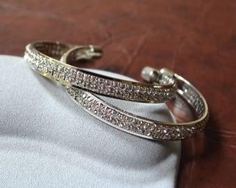 Bangle silver bracelet rhinestone Crystal Bangle Bridal jewelry elegant wedding gift engagement mother's day birthday Valentine's day