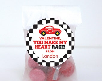 Valentineu0027s Day Stickers   Race Car   You Make My Heart Race   Sheet Of 12