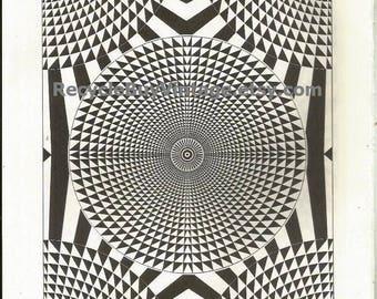 optical illusion / c. 1970's artwork / vintage print / black and white / geometric design / book plate / lithograph vintage / litho / #15/16