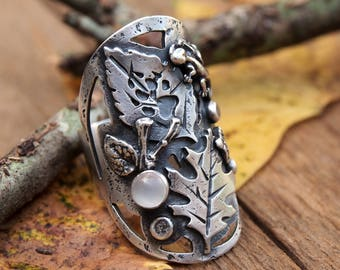Bridge Ring Earth Nature Ring Sterling Silver Saddle Statement Ring Acorn Leaves Natural Wolf Paw Bohemian Earth Jewelry Moonstone Lizard