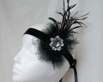 Black & Grey Feather Plume and Crystal 1920's Gatsby Flapper Style Ribbon Tie Headband Band -Ready Made