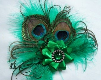 Small Shades of Emerald Green Peacock Feather & Crystal Vintage Mini Fascinator Hair Clip- Ready Made